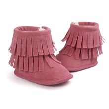 ChiChiMao Winter Boots Baby Girls Shoes Infant Moccasins With Fur Soft Soled Tassel Warm Shoes Kids Booties