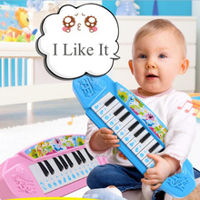 13 Keys Piano Baby Mini Electronic Keyboard Music Toy Cartoon Baby Piano Toy Gift Pink/Blue for Children Kids Beginners