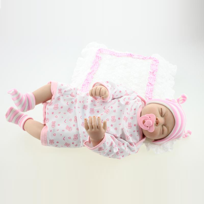 Lifestyle 50-55cm Handmade FullSilicone Reborn Baby Dolls Closed Eyes with Beautiful Pink Clothes 100% Safe Material Doll Reborn<br><br>Aliexpress