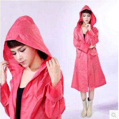 Japan Fashion Womens Long Trench Raincoats burbe rry_ women Hooded Poncho Waterproof Pink Green Sports Girls Jacket FreeShipping<br><br>Aliexpress