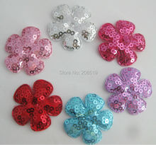 PANNES 120pcs 35mm padded sequined Felt Flower appliques for garment ornament DIY hair jewelry accessories