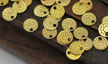 100 pcs Raw Brass Round Tags, Charms, Findings (6.5 mm) brs85