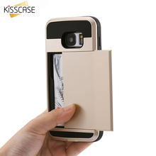 KISSCASE Luxury Armor Case For Samsung Galaxy S6 S7 Edge Plus Note 4 5 Silicon Dual Layer Hybrid Card Slot Slim Back Cover Capa
