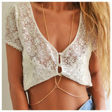 hot selling fashion women sexy golden body chain necklace necklace waist belt chain jewelry women free shipping