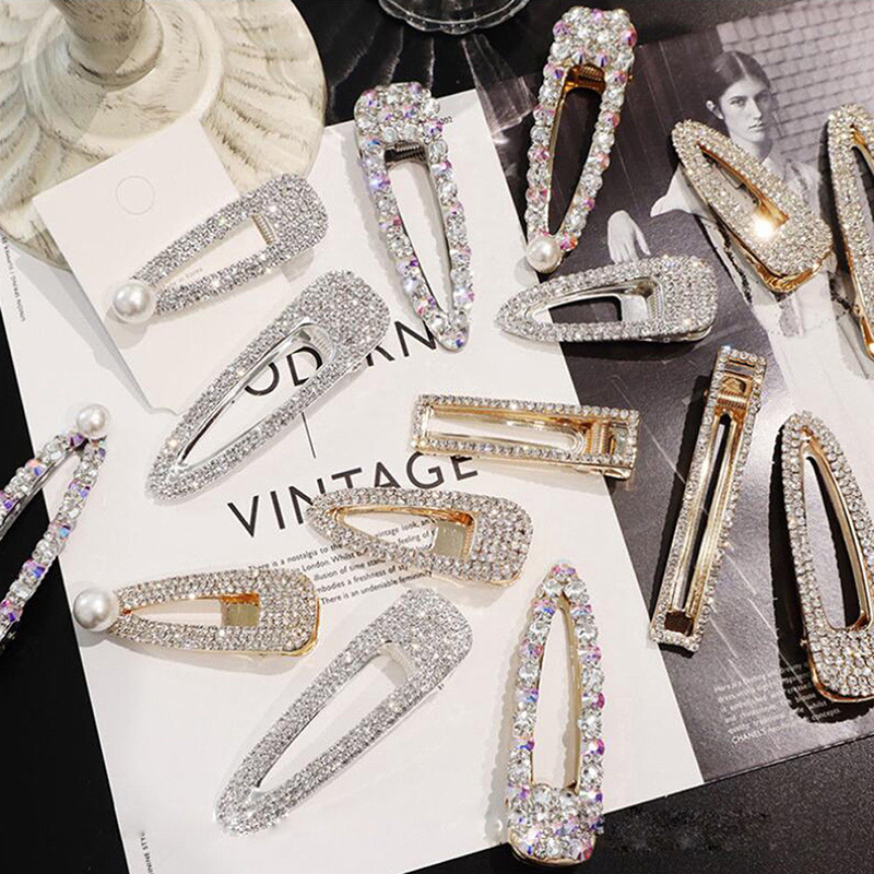 1pcs Bling Crystal Hairpins Headwear For Women Girls Rhinestone Hair Clips Pins Barrette Styling Tools Hair Accessories 9 Style