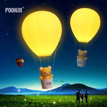 Hot Remote Control USB Charge LED Night Light Hot Air Balloon Rechargeable Wall Lamp Chandelier Lights Children Baby's Gifts(China)