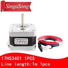 Free shipping and Quality 17HS3401 4-lead Nema 17 Stepper Motor 42 motor 42BYGH 1.3A CE ROSH ISO CNC Laser and 3D printer