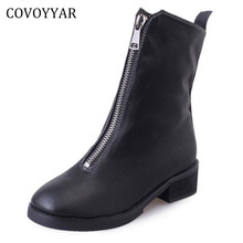 COVOYYAR British Front Zip Ankle Boots Women 2017 Fall Winter Fashion Low Thick Heel Martin Boots Black Shoes Woman WBS230