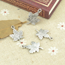 25pcs alloy Tibetan Silver Plated tree leaf Charms Pendants for Jewelry Making DIY Handmade Craft 23*15mm 21102