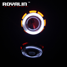 Buy ROYALIN 1pc Universal Motorcycle Headlight Front Xenon Projector Lens Round Dual CCFL Halo Angel Eyes 12V H1 H4 H7 High Low Beam for $13.43 in AliExpress store