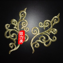 1 Mirror Pair Gold Lace Applique Headwear Flower Lady Motif Venise Lace Trim Wedding Dress Garment Accessories(China)