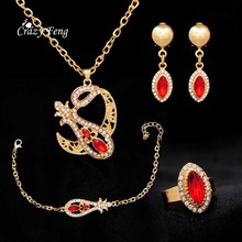 Wholesale Gold Color Red CZ Pendant & Necklace Drop Earring Bracelet Rings Stainless Steel African Wedding Bridal Jewelry Sets