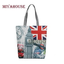 Wholesale Female Canvas Shoulder Bag European Style Tower Printed Canvas Handbag Tote Women Casual Beach Bag Single Shopping Bag(China)