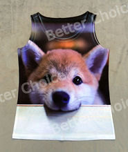 Track Ship+Vintage Vest Tanks Tank Tops Camis Cute Hairy Puppy Dog Doglet Lean on Desk Watching You 0651