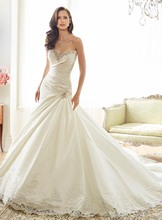 luxury French grey tail 2016 Long Sweetheart Mermaid Wedding Dresses Satin Sexy Beadings Custom Made Elegant Bridal Gown