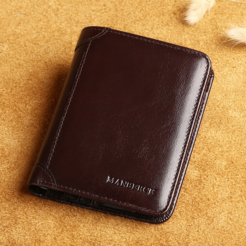 Men Vintage Retro Black Brown Khaki Short Soft Genuine Leather Cow Leather Wallet With Coin Bag Mini Purse<br>