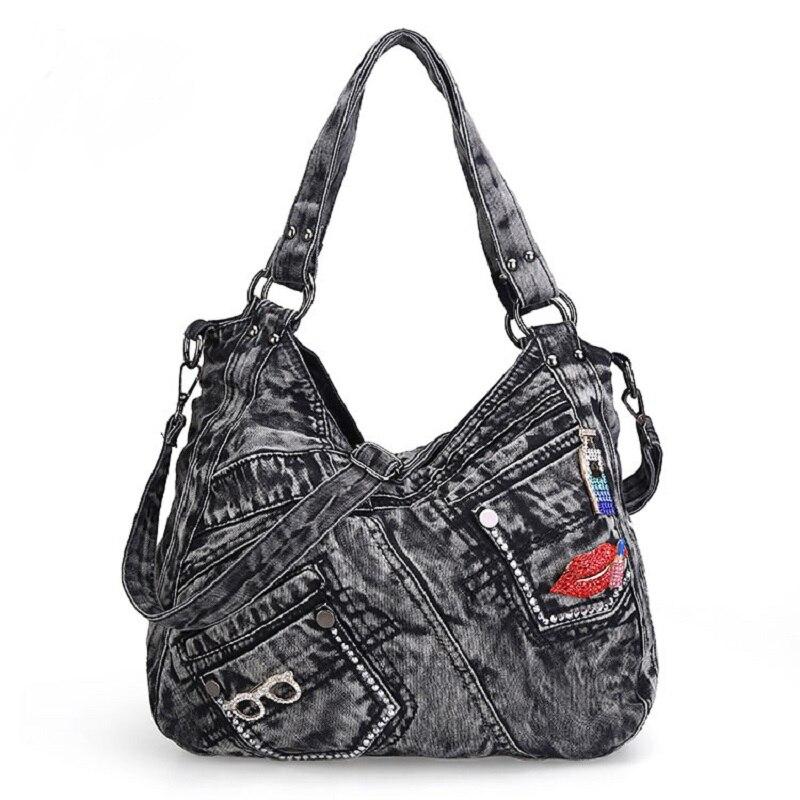 Casual Fashion Zipper Design Denim Applique Pocket Vintage Women Tote Bags Lady Handbags Jeans Denim Shoulder Bag Messenger bags<br>