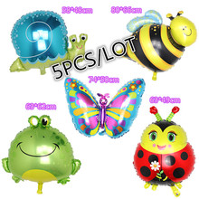5pcs/lot New Large Inflatable animal balloons Snails Bee Frog Butterfly foil balloon children's birthday party toys kids babies