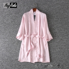 Pink sexy chiffon robes for women bathrobes SPA Quality dressing gown original brand limited stock if you like it don't miss it(China)