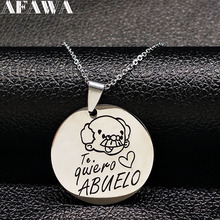 2018 Grandfather Stainless Steel Necklace Jewerly Round Silver Color Necklaces & Pendants Jewelry acero inoxidable N17839(China)
