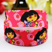 7/8'' (22mm) Dora Cartoon Character printed Grosgrain Ribbon party decoration ribbons OEM X-00809 10 Yards