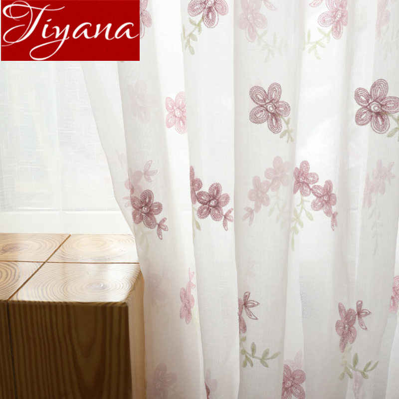 Pink Floral Sheer Curtain Window Screen Embroidery Voile Kitchen Fabric Living Room Treatment Rustic Blinds X576#30