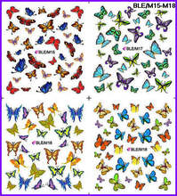 4 PACKS / LOT FULL COVER BUTTERFLY TATTOOS STICKER WATER DECAL NAIL ART M015-018