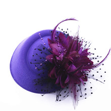 1PCS Fascinator with Feathers and Veiling ladies day Wedding Bridal Party Wedding Brides Hair accessories bride headdress(China)
