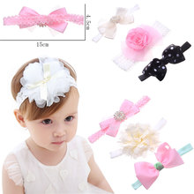 1Set=3Pcs Unisex Kids Top Bow Knot Headbands for Newborn Children Hair Band Accessories Lovely Head Wrap Toddler Girls Headdress(China)