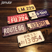 JAMULAR Retro License Plate Number Case For iPhone X 8 7 6 6s Plus Cases Back Cover For iphone 7 6 6s Plus Hard Phone Case Shell(China)