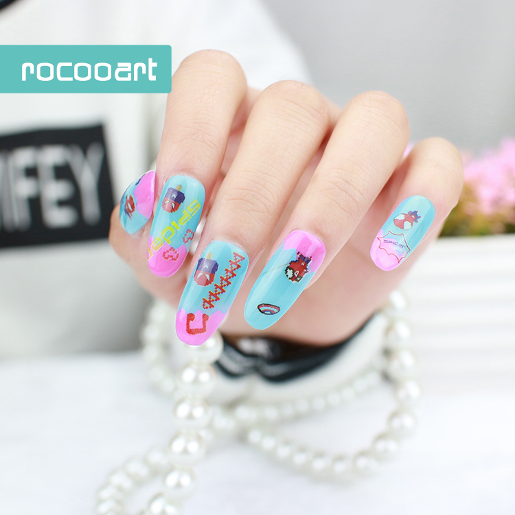 New Unique Pixel Nail Art Decorations Water Transfer Decal Nail Stickers For Nails Manicure Stickers Watermark Fingernails Decal(China (Mainland))