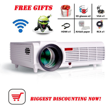 led96 5500lumens Android 4.4 1080P wifi led projector full hd 3d home theater lcd video proyector projektor projetor beamer bt96(China)