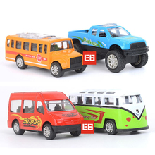 Hot 1:64 scale wheels diecast mini school bus Pickup van metal & plastic model cars pull back alloy toys for children gifts(China)
