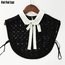 Women lace black and white chiffon bow tie round fake collar half shirt detachable collars apparel accessories(China)