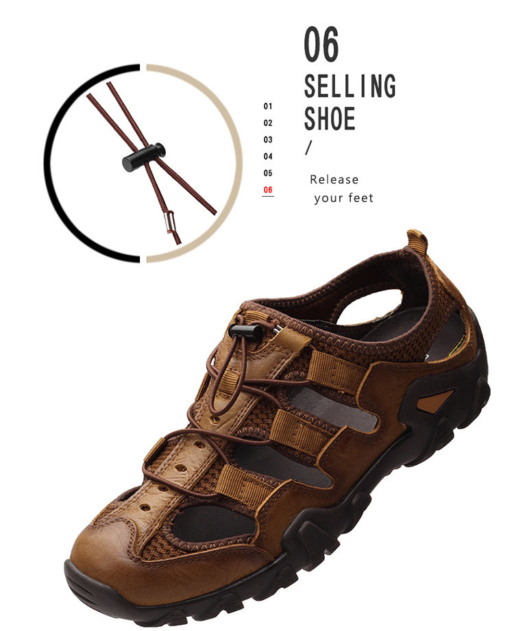 BACKCAMEL 2018 Summer New Sandals for Men Fashion Baotou Beach Slipper Sandals First Layer Leather Wear Casual Men's Shoes Hot 15 Online shopping Bangladesh