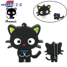 new design black cat usb flash drive pen drive real capacity memory stick U Disk 32GB 16GB 8GB 4GB Lanyard chococat