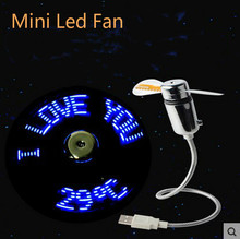 3PCS Durable Adjustable USB Power Mini Flexible LED Light USB Fan Time Clock Desktop Clock Time Display High Quality Night Light