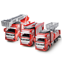 Pull Back Spray Water Gun Toy Fire Truck Rescue Fire Engine Firetruck Fireman Ladder Vehicles Car Cool Educational Toys for Boys(China)