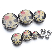 Jewelry Piercing Flesh Tunnel Earplugs Skull 1 Pair Stainless Steel Earrings Hollow(China)