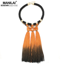MANILAI Boho Exaggerated Tassels Necklaces Statement Jewelry Fashion Chunky Rope Black Choker Women Long Necklaces & Pendants(China)