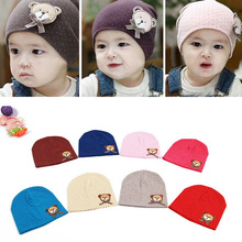 Lovely Cute Infant kids baby Beanies Hat cap for boys girls solid color soft hat thick baby cold cap super pocket hat(China)