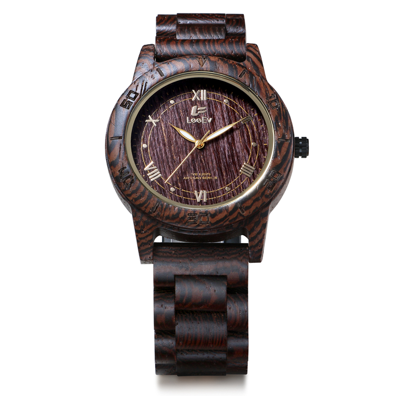 LeeEv All Wenge Wooden Japanese Quartz Men Watch Cassia Siamca Full Wood Watches Man Luminous Hands Wristwatches EV2075<br>
