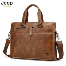 JEEP Promotion Simple Dot Famous Brand Business Men Briefcase Bag Luxury Leather Laptop Bag Man Shoulder Bag bolsa maleta 9616