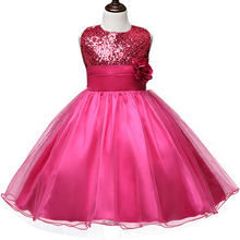 New Flower Children Ball Gown Sequin Formal Wedding Princess Girl Tutu Dress for Party Girls Clothes Kids Dresses Girl Clothing(China)