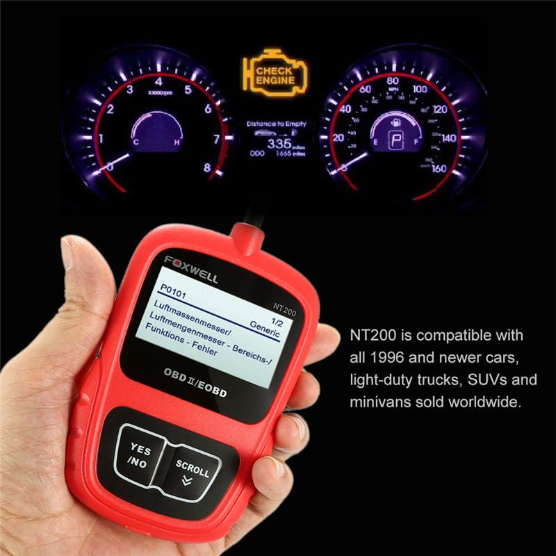 [FOXWELL Distributor]100% Orignal Foxwell NT200 Auto CAN OBDII/EOBD Code Reader Diagnostic Scan Tool Free Shipping(China)