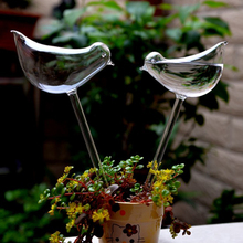 2pcs/lot Home Decor Birds Shape Garden Glass Plant Pots Flowerpot Glass Indoor Garden Automatic Watering Pots Potted Hot Selling(China)
