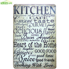 Kitchen Recipes Metal Tin Sign Hotel/Family Wall Decor Metal Sign Vintage Home Decor Metal Plaque Retro Painting Art Poster
