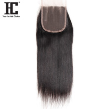 HC Hair Company 8-18inch 4x4 Three Part Lace Closure Straight Human Hair Natural Color Density 130% Remy Hair Can Be Dyed(China)