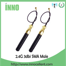 2pcs/lot 2.4GHz antenna SMA Male connector 2dbi wifi antenna rubber Zigbee short antenna+ PCI U.FL IPX to RP-SMA Pigtail Cable