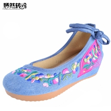 Spring Summer New Old Beijing Embroidery Shoes Pumps Wedge Shoes Embroidered Floral Canvas Soft Dance Shoes Size 34-41(China)